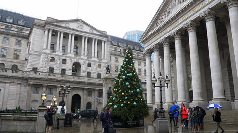 Bank of England in the city of london - LONDON, ENGLAND - DECEMBER 11, 2019 Live Action