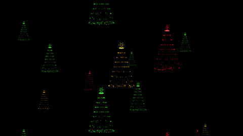 Christmas Trees Made Of Lights Multi Colored Invasion Looping Background Animation
