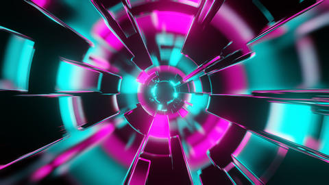 Fly through abstract colorful neon VJ tunnel. Future, speed, big data animation. 3D rendering Animation