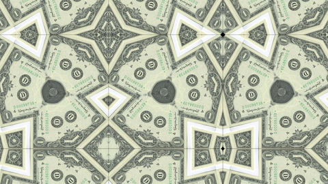kaleidoscope pattern of dollar banknote, footage ideal for representing money GIF