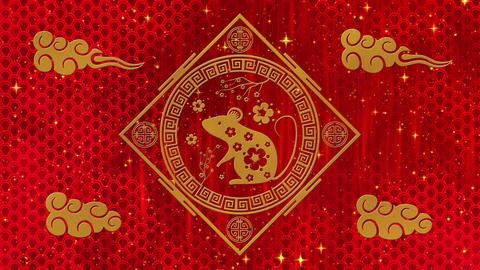 Lunar New Year, Spring Festival background with golden rat, sakura, glittering Animation
