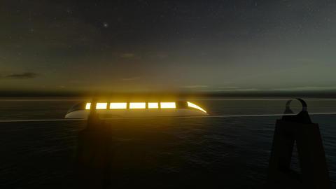 Green Maglev hyperloop. Green energy concept. Modern city landscape. Futuristic Live Action