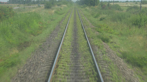 Rail System in Motion on Railroad Live Action