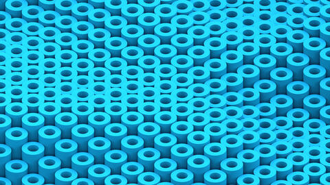 Surface with moving blue cylinders animation background closeup Animation