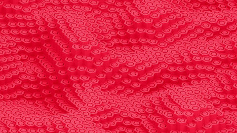 Hexagon moving surface red pillars animation background Animation