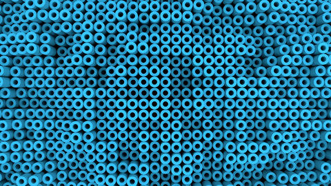 Surface with moving blue cylinders animation background Animation