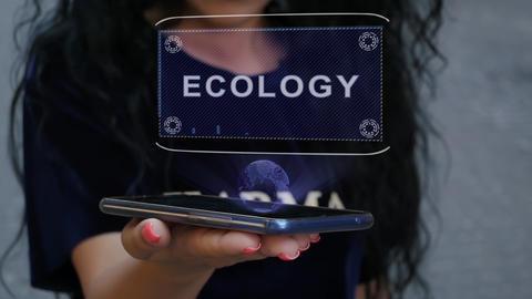 Woman showing HUD hologram Ecology Live Action