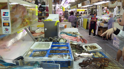 Young Japanese Woman Buying Seafood At Fish Market Naha Japan Live Action