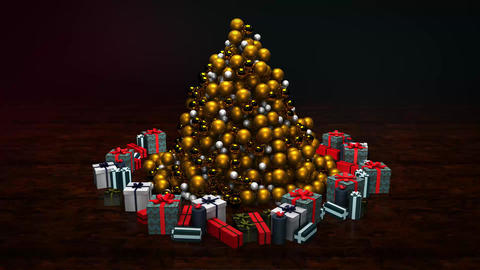 Neo Gold Christmas Tree MOGRT Motion Graphics Template