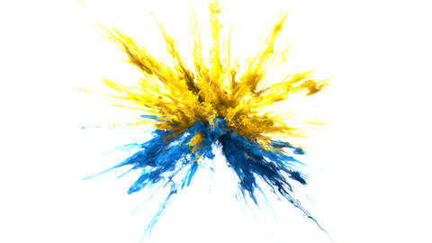 Yellow blue Color Burst smoke powder explosion fluid ink particles alpha matte Animation