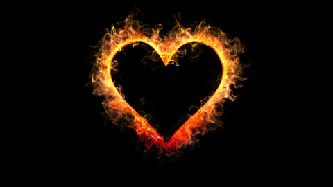 Yellow orange color flame heart shape Valentine's Day love card copy space 60fps Animation