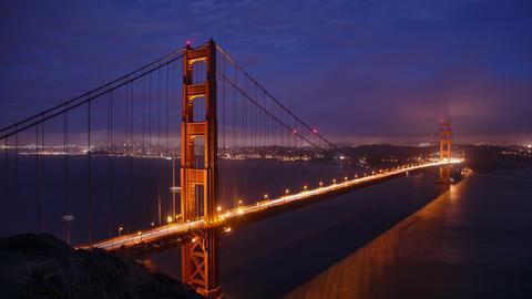 Golden Gate Bridge In San Francisco Night Footage