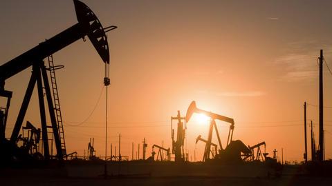Oil Wells At Sunrise Footage