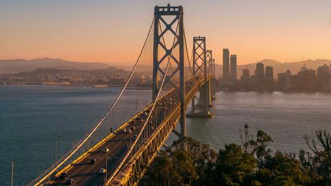 San Francisco's Bay Bridge Twilight Footage