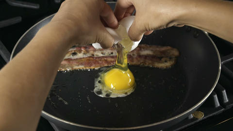 Making Breakfast Eggs Footage