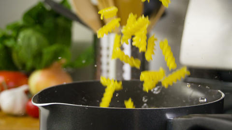 Pasta Cooking Falling Slow Motion Footage