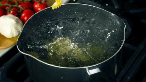 Pasta Falling Into Pot Slow Motion Footage