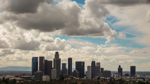 Time Lapse Clouds Above Downtown Los Angeles Footage