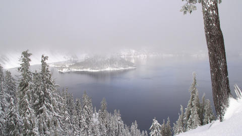 Crater Lake National Park in Winter Footage