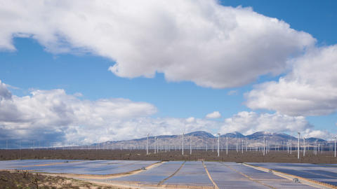Solar And Wind Power Station In The Desert Footage