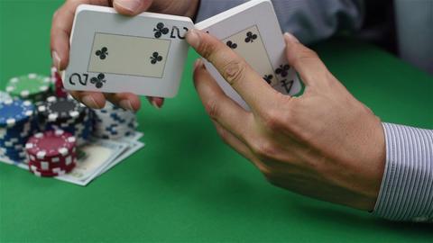 Dealer shuffles cards Footage