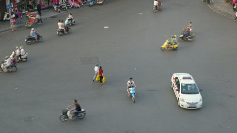 Busy And Chaotic Street In Hanoi Vietnam Footage