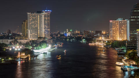 Bangkok Thailand At Night Time Lapse Footage
