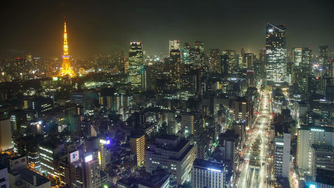 Night Time Lapse Tokyo Japan Cityscape Footage