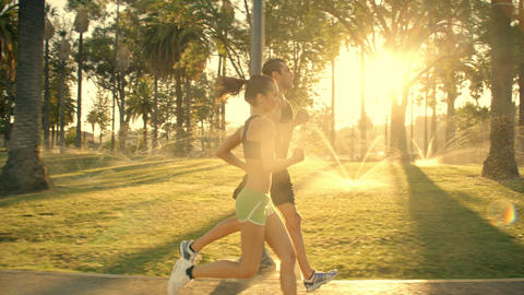 Jogging Slow-Motion Athletic Couple Workout Footage