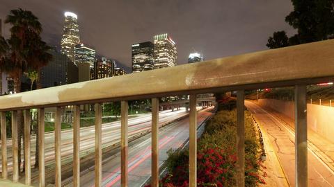 Los Angeles Night Time-Lapse Traffic Skyline Footage