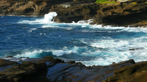 Ocean Waves Hawaii Shoreline Scenic Footage