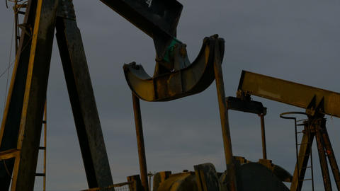 Close Up Of An Oil Well Pump Footage