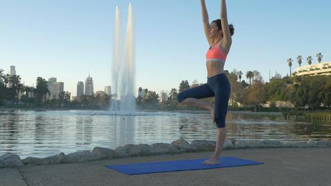 Woman Yoga Park Morning Footage