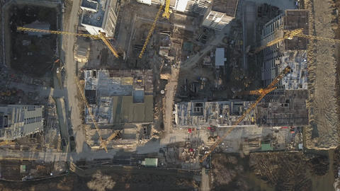 Construction site of a new residential complex. Flying over the construction Live Action