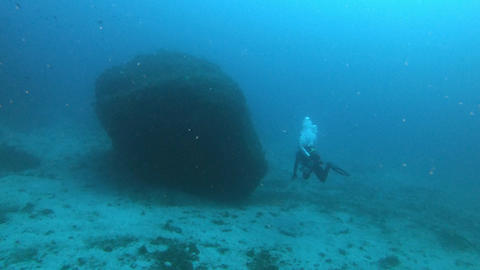 Scuba diving in Majorca Spain - Scuba diver 45 meters depth Live Action