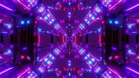 endless glowing lights on futuristic sci-fi hangar tunnel corridor with nice Animation