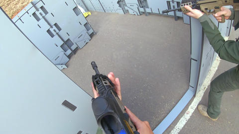POV of soldier training in close quarters combat techniques Live Action