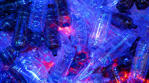 Plastic bottle installation with blue and red illumination - ecology concept Live Action