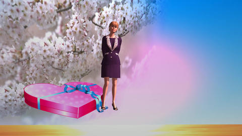 289 3d animated footage about love and womens day love greeting Animation