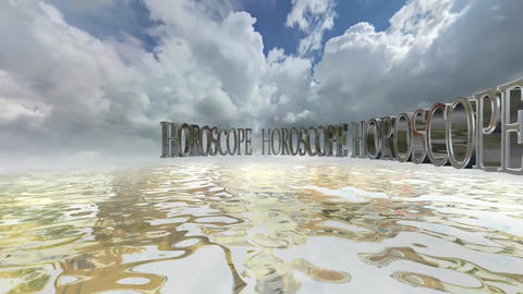 306 3d animated background on sea and sky with the word HOROSCOPE Animation