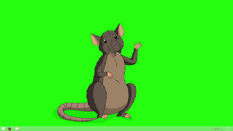 Brown rat greets and waves its paw animation Chroma Key Animation