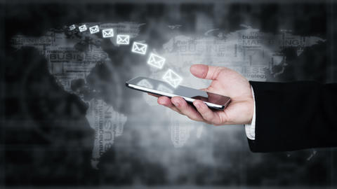 Businessman Sending Mail via Smartphone. Online Communication, Chat and Messaging Animation