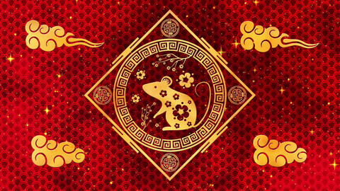 Lunar New Year, Spring Festival background with golden rat, red silk pattern Animation