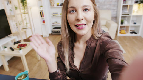 Pov of beautiful beauty influencer recording new vlog for social media Live Action