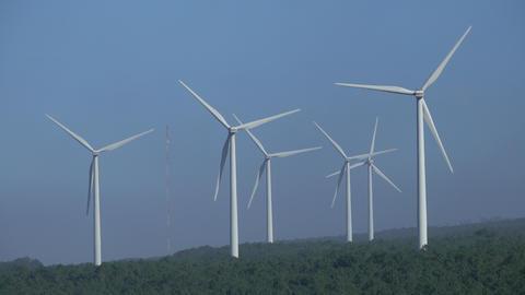 Windmills or wind turbine on wind farm Live Action