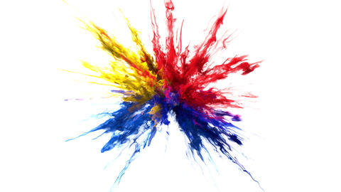 Red yellow blue Color Burst smoke powder explosion swirly particles alpha matte Animation