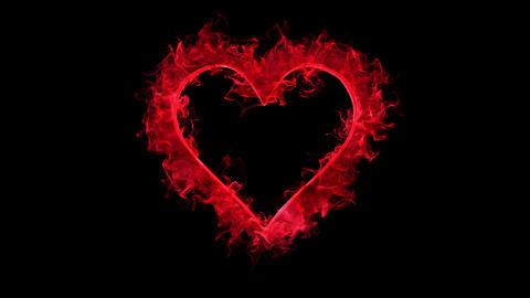 Red color flame heart shaped Valentine's Day love card copy space 60fps Animation