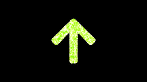 Symbol arrow up shimmers in three colors: Purple, Green, Pink. In - Out loop. Alpha channel Animation