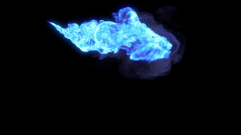 Stream of blue magic fire with alpha channel Animation