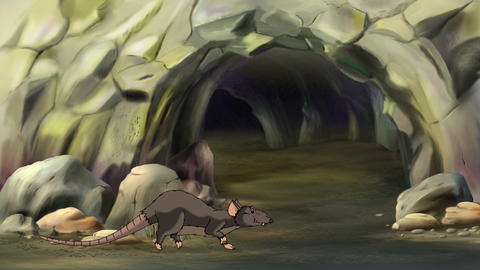 Brown rat at the entrance to the hole Animation
